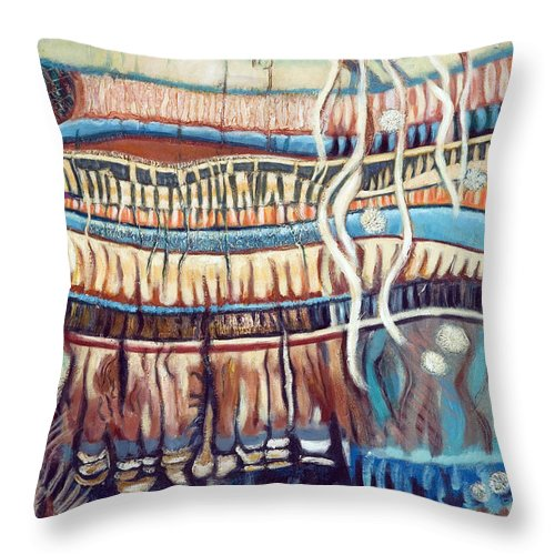 Abstract Throw Pillow featuring the painting Palm Contractions by Kerryn Madsen-Pietsch