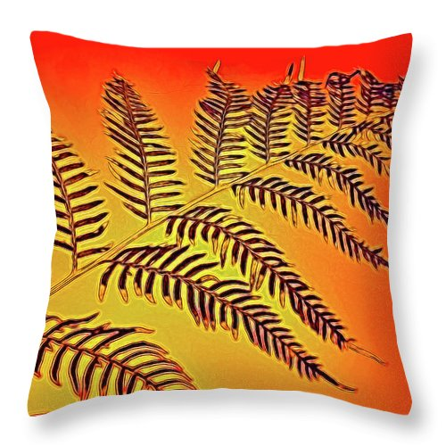 Palm Frond In The Summer Heat Throw Pillow featuring the photograph Palm Frond In The Summer Heat by Kaye Menner