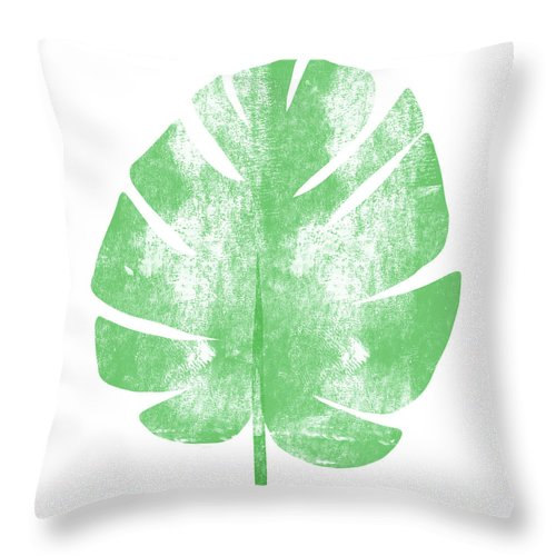 Palm Throw Pillow featuring the painting Palm Leaf- Art By Linda Woods by Linda Woods