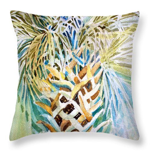 Palm Tree Throw Pillow featuring the painting Palm On Honeymoon Island by Mindy Newman