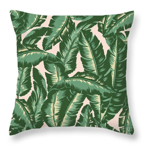 Leaves Throw Pillow featuring the digital art Palm Print by Lauren Amelia Hughes