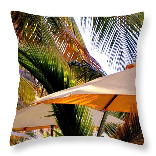 Umbrellas Throw Pillow featuring the photograph Palm Serenity by Karen Wiles