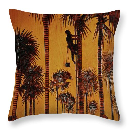 Wood Burning Throw Pillow featuring the drawing Palm Silhouette by Jack Harries