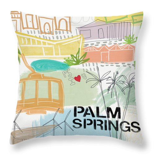 Palm Springs California Throw Pillow featuring the painting Palm Springs Cityscape- Art By Linda Woods by Linda Woods