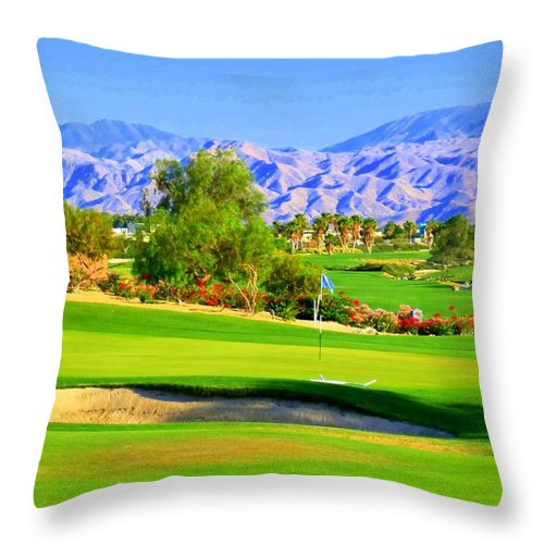 Palm Springs Throw Pillow featuring the photograph Palm Springs Golf by Randall Weidner