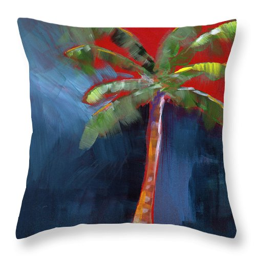 Palm Tree Throw Pillow featuring the painting Palm Tree- Art by Linda Woods by Linda Woods