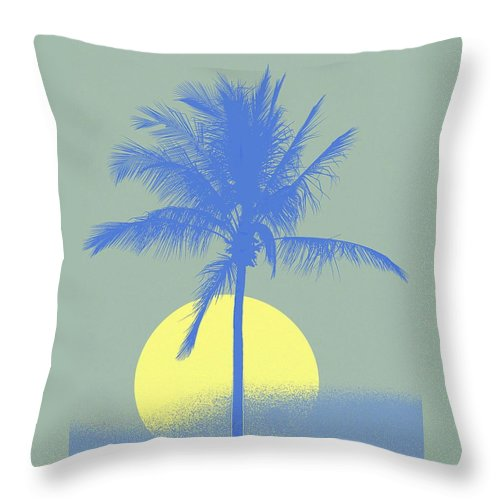 Palm Tree Throw Pillow featuring the digital art Palm Tree Blue Sun Setting by Philip Okoro