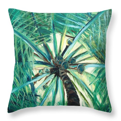 Palm Tree Throw Pillow featuring the painting Palm Tree by Gina De Gorna