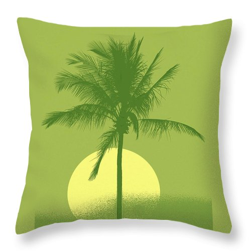 Palm Tree Throw Pillow featuring the digital art Palm Tree Green Sun Setting by Philip Okoro