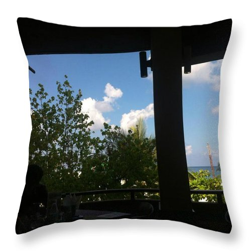 Throw Pillow featuring the photograph Palm Tree Near By Ocean by Aly Dieaaeldeen