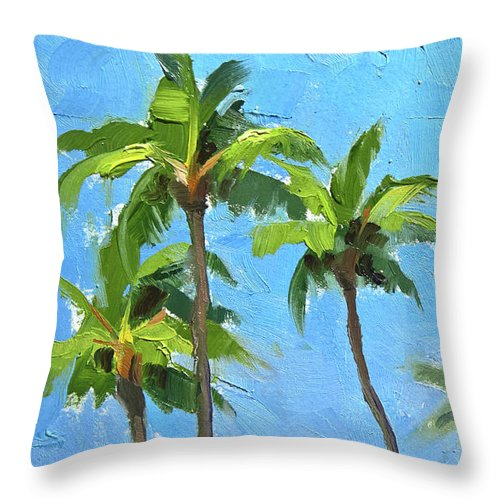Island Throw Pillow featuring the painting Palm Tree Plein Air Painting by Karen Whitworth