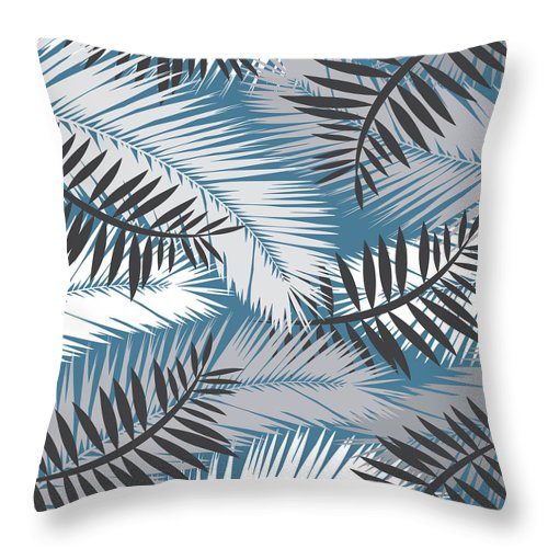 Summer Throw Pillow featuring the digital art Palm Trees 10 by Mark Ashkenazi