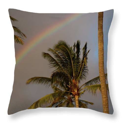 Kauai Throw Pillow featuring the photograph Palm Trees And Rainbow by Roger Mullenhour