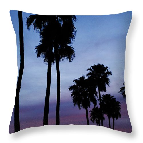 Palm Trees Throw Pillow featuring the photograph Palm Trees At Sunset by Jill Reger