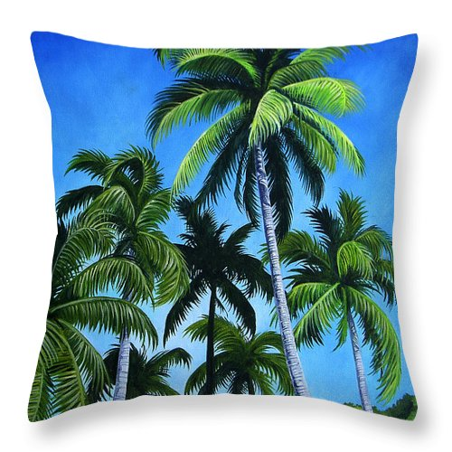 Palms Throw Pillow featuring the painting Palm Trees Under A Blue Sky by Juan Alcantara