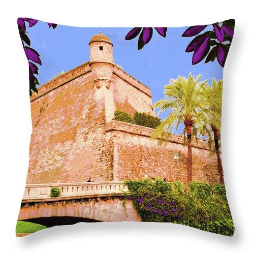 Photography Throw Pillow featuring the photograph Palma De Majorca Old City Walls by Mallorca Colors
