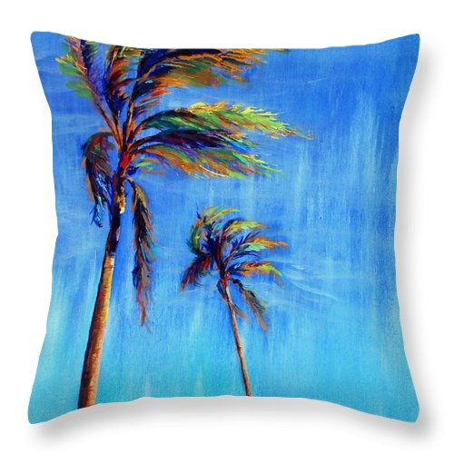 Landscape Throw Pillow featuring the painting Palmas Viento by Lynee Sapere