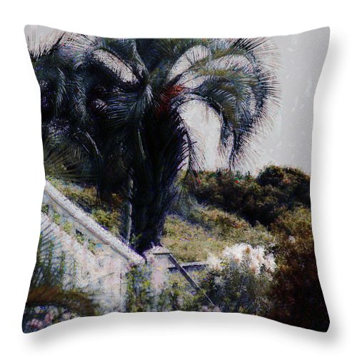 Palmetto Tree Throw Pillow featuring the photograph Palmetto Beach by Donna Bentley