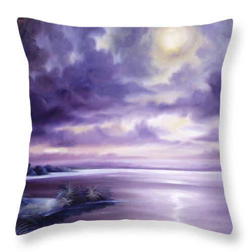 Moon Throw Pillow featuring the painting Palmetto Moonscape by James Christopher Hill