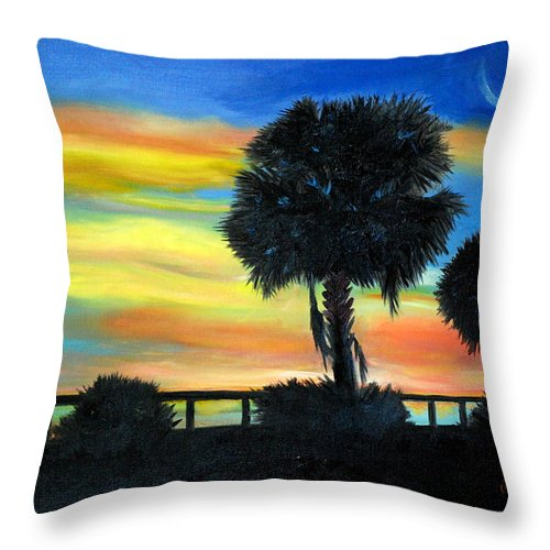 Palmetto Throw Pillow featuring the painting Palmetto Nights by Phil Burton