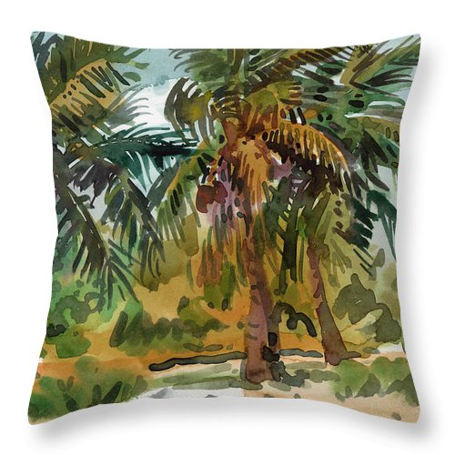 Palm Tree Throw Pillow featuring the painting Palms In Key West by Donald Maier