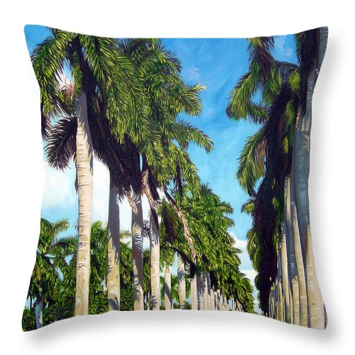 Palms Throw Pillow featuring the painting Palms by Jose Manuel Abraham
