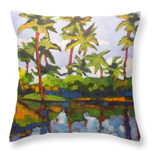 Hawaiian Throw Pillow featuring the painting Palms Reflections by Mary McInnis