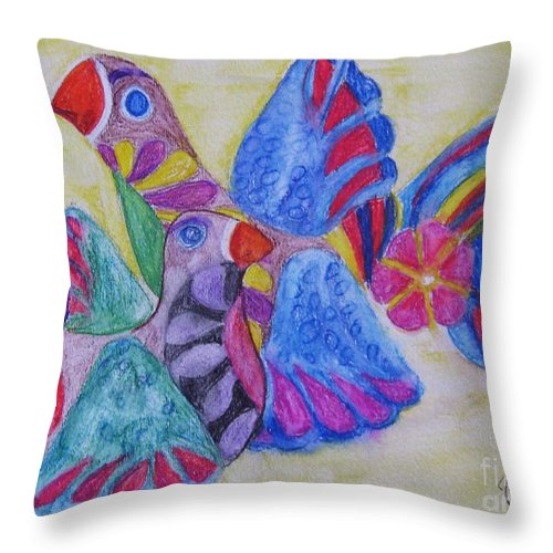 Bright Colors Throw Pillow featuring the painting Palomas - Gifted by Judith Espinoza