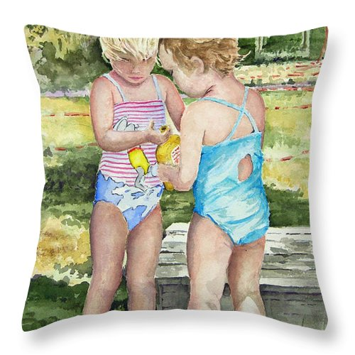 Children Throw Pillow featuring the painting Pals Share by Sam Sidders