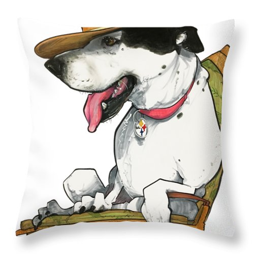 Pet Portrait Throw Pillow featuring the drawing Paluzzi 7-1383 by John LaFree
