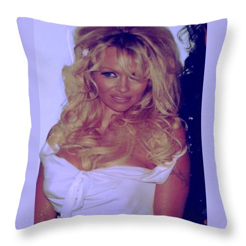 Throw Pillow featuring the photograph Pamela Anderson by Chonalamongo Kimura