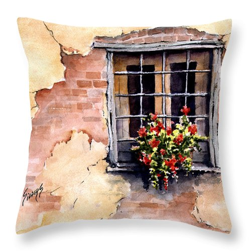 Window Throw Pillow featuring the painting Pampa Window by Sam Sidders