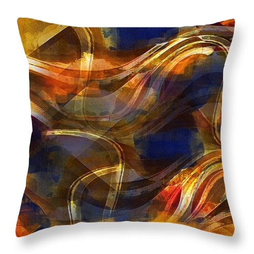 Abstract Throw Pillow featuring the painting Pamplona by RC DeWinter