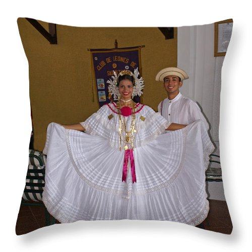 Greeters Throw Pillow featuring the photograph Panama Greetings by Heather Coen
