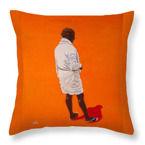 Lungi Throw Pillow featuring the painting Panche by Usha Shantharam