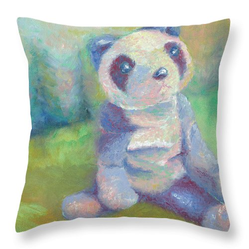Panda Throw Pillow featuring the painting Panda 2 by Elise Aleman