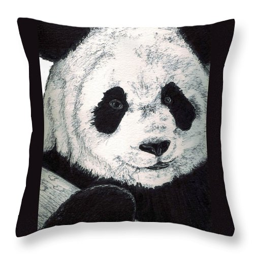Panda Throw Pillow featuring the painting Panda by Debra Sandstrom