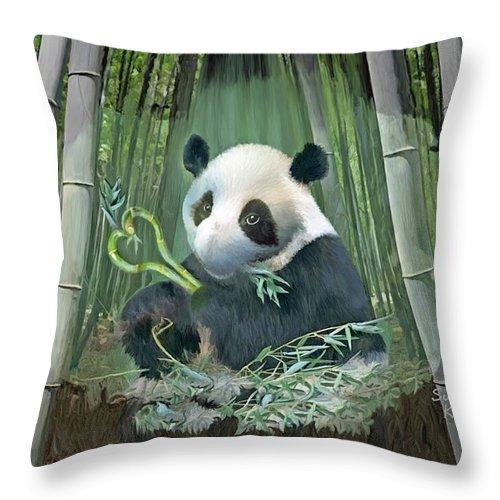 Panda Throw Pillow featuring the painting Panda Love by Susanna Katherine