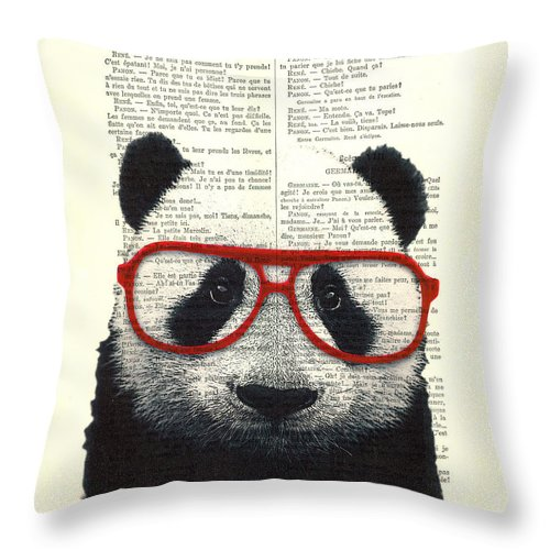 Panda Throw Pillow featuring the digital art Panda Nursery Art by Madame Memento