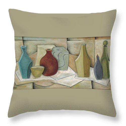 Still Life Throw Pillow featuring the painting Pandora's Box by Trish Toro