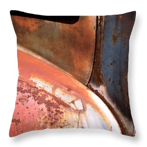 Abstract Throw Pillow featuring the photograph Panel from Ole Bill by Steve Karol