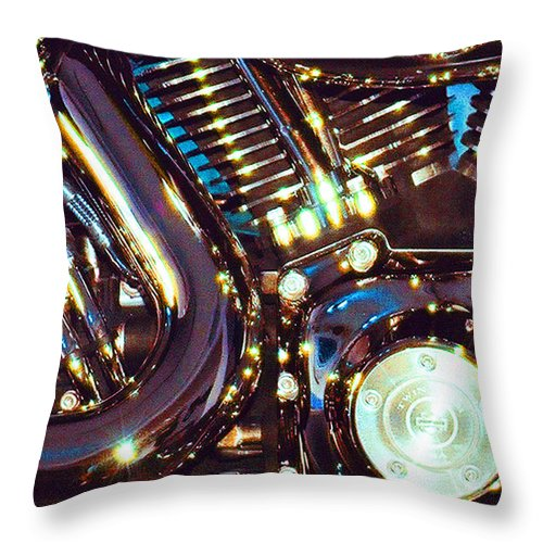 Harley Davidson Throw Pillow featuring the photograph Panel II from Mechanism by Steve Karol