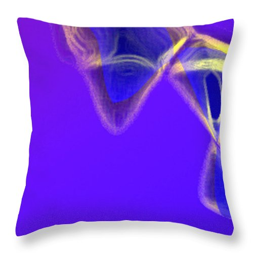 Abstract Throw Pillow featuring the digital art Panel one from Movement in Blue by Steve Karol