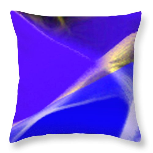 Abstract Throw Pillow featuring the digital art panel three from Movement in Blue by Steve Karol