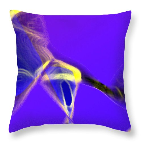 Abstract Throw Pillow featuring the digital art panel two from Movement in Blue by Steve Karol
