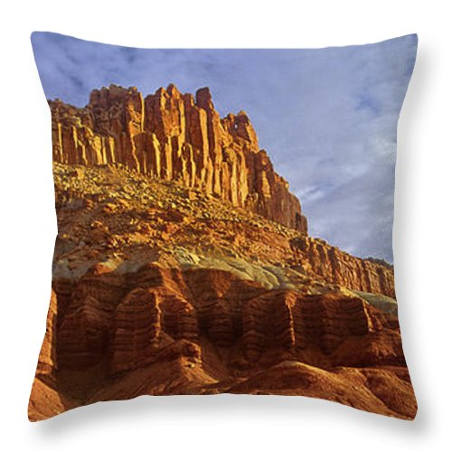 North America Throw Pillow featuring the photograph Panorama The Castle On A Cloudy Morning Capitol Reef National Park by Dave Welling
