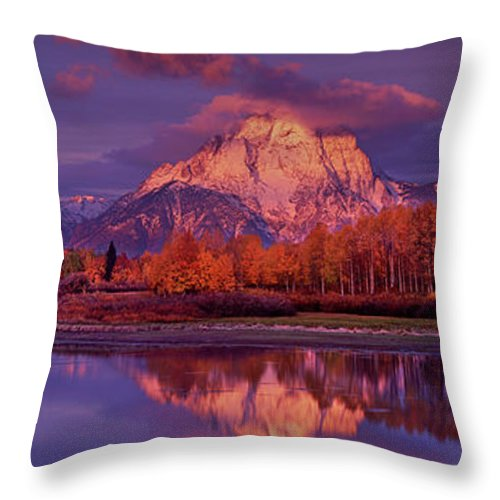 Grand Tetons National Park Throw Pillow featuring the photograph Panoramic Sunrise Oxbow Bend Grand Tetons National Park by Dave Welling