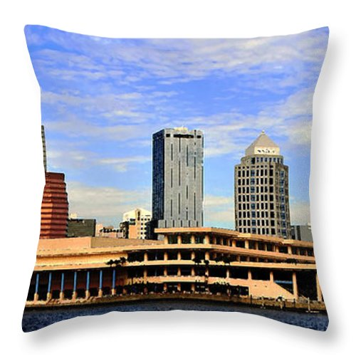 Tampa Bay Florida Throw Pillow featuring the painting Panoramic Tampa by David Lee Thompson