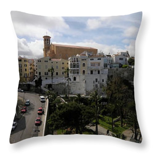 Mao Throw Pillow featuring the photograph panoramic town 1 - Panorama of Mahon Menorca with old town and harbour by Pedro Cardona Llambias
