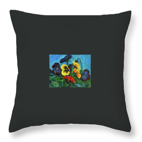 Floral Study Throw Pillow featuring the painting Pansies by Jennifer Christenson